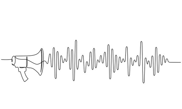 Megaphone, loudspeaker with sound wave. one line drawing