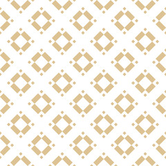 Golden vector geometric seamless pattern with rhombuses, diamonds, squares, floral shapes, tiles. Abstract white and gold texture. Minimal ornament. Simple luxury background. Repeat ornate design