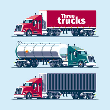 Three heavy trucks with different cargo trailers - tilt, tank, container. Blank vector template mockup.