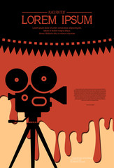 Cinema background for a horror movie festival design. Silhouette of old cinema projector on a tripod in a puddle of blood. Retro film festival template for banner,poster.Scary cinema.Horror film night
