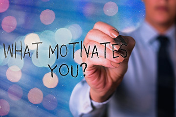 Word writing text What Motivates Youquestion. Business photo showcasing know reasons why you want...