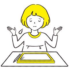手描き1color  おかっぱ女の子 ペンタブレット お手上げ