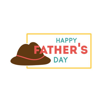happy fathers day seal with hat flat style