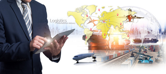 Wall Mural - Business Logistics concept, Businessman manager touching icon of logistics for workers with Modern Trade warehouse logisticsGlobal business connection technology interface global partner connection