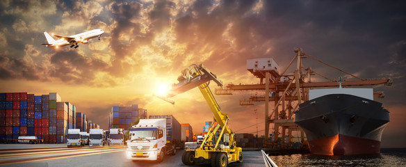 Wall Mural - Logistics import export background and transport industry of Container Cargo freight ship and Cargo plane background, Truck transport container on the road to the port