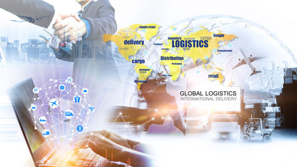 Wall Mural - Smart technology concept with global logistics partnership Industrial Container Cargo freight ship, internet of things Concept of fast or instant shipping, Online goods orders worldwide
