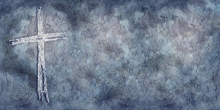 textural, dimensional cross illustration in blues and grays with copy space, worship slide background, wallpaper