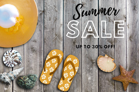 Illustration. summer poster, collage or background. Discount. Summer background with the text: summer sale up to 30% off. Sale banner with beach objects. season discount promotion. seasonal.