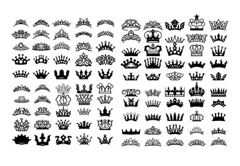Princess crown vector set collection graphic clipart design
