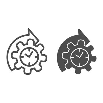 Watches and arrow with gear line and solid icon, time managment concept, cogwheel with clock reprocessing sign on white background, Accelerated process gear icon in outline style. Vector graphics.