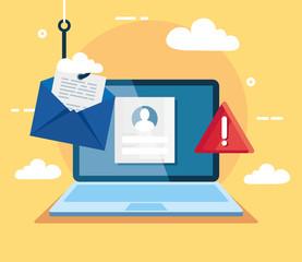 data phishing hacking online scam concept, with laptop and envelope hook vector illustration design