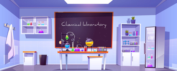 Chemical laboratory, empty chemistry cabinet or classroom interior with blackboard, beakers for experiments on desk, furniture and scientific supplies. Educational room cartoon vector illustration