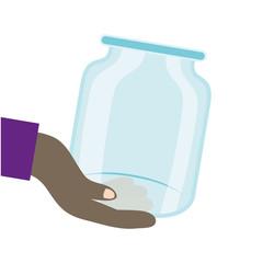 Keuken foto achterwand Wanddecoratie met eigen foto afro hand human lifting donation jar glass
