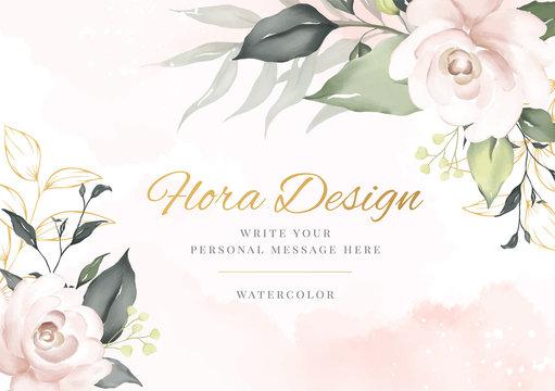 Elegant flower watercolor background card. Wedding invitation flora.
