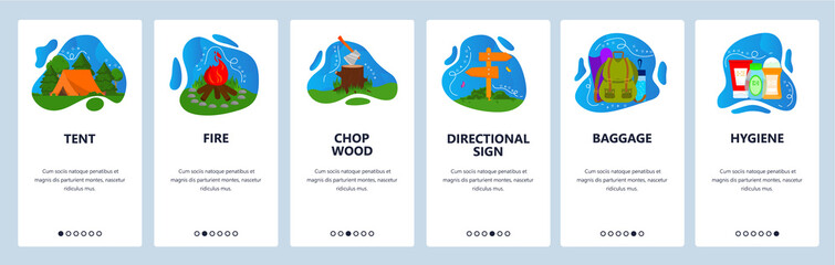 Camping website and mobile app onboarding screens vector template