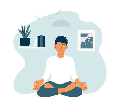 Young man with closed eyes staying home, enjoying meditation. Boy practicing yoga, mindfulness, breath control. Guy in crossed legs pose relax sitting on floor. Healthy lifestyle vector illustration.