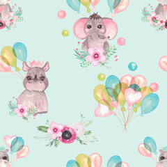 Seamless pattern of cute baby animals with balloons flowers on a blue background Children's print elephant, Rhino, Hippo birthday party