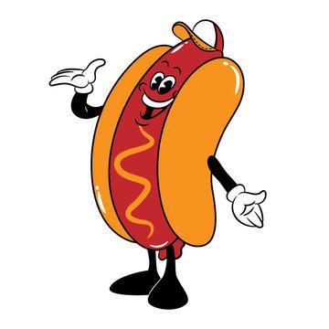 Hot Dog Mascot wearing baseball caps invite customer to buy in 1930s Cartoon Style Vector