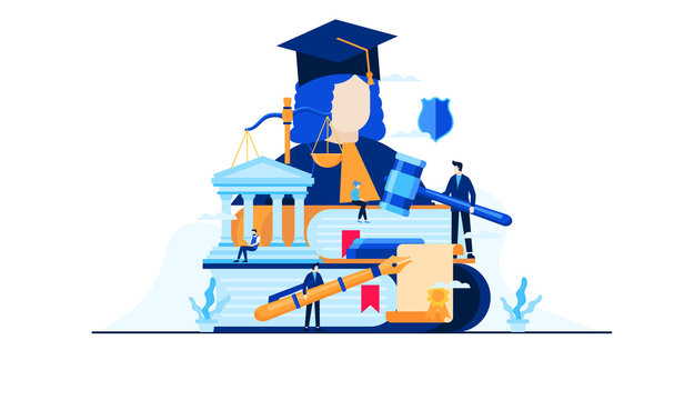 law and justice education vector illustration concept template background can be use for presentation web banner UI UX landing page
