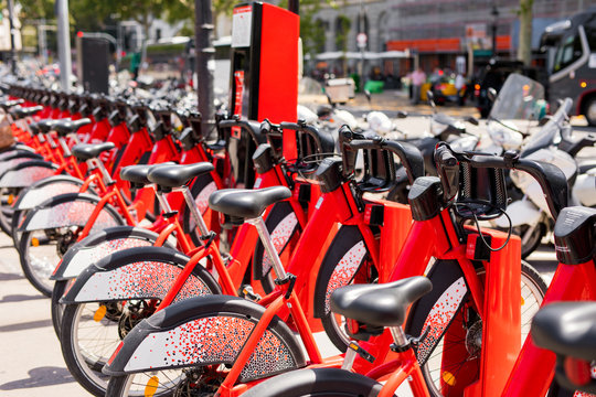 Rental bikes available for rent in the city