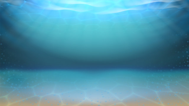 Underwater Sea Sandy Bottom And Bubbles Vector. Diving Underwater Seascape. Purity Undersea Water, Aquatic Waterscape Abyss With Sand And Sunshine Light Layout Realistic 3d Illustration
