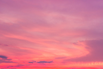 Photo sur Aluminium Rose banbon sunset sky with clouds, pink clouds fluffy