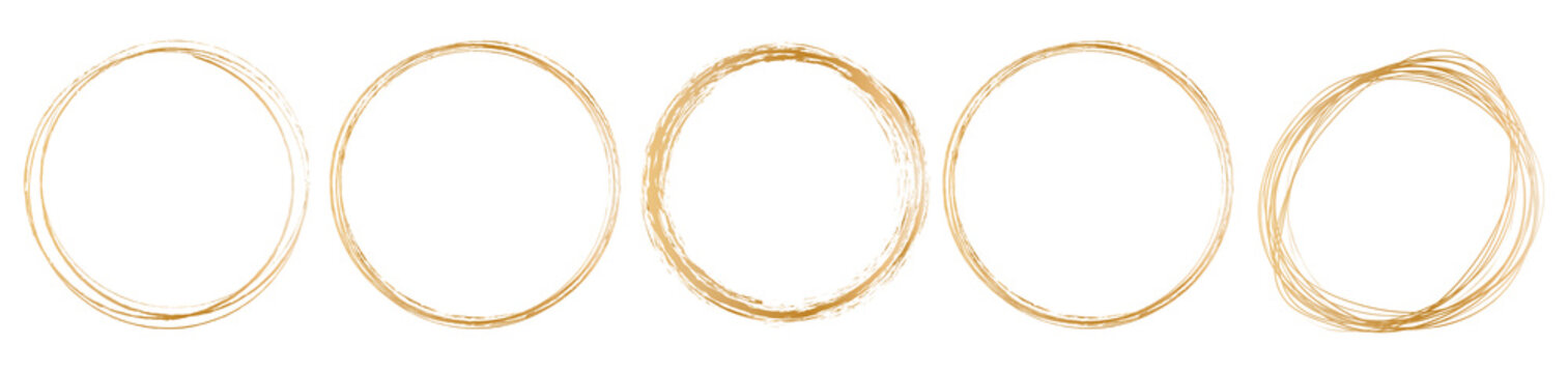 set of gold round frame on white background