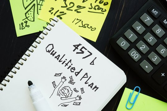 Business concept about 457(b) Qualified Plan with phrase on the page.