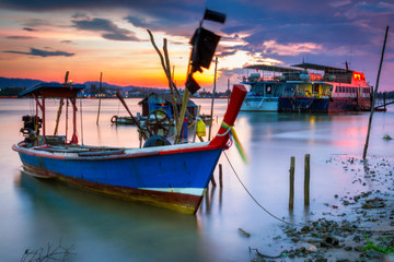 Beautiful sunset over the bay of Andaman Sea in Thailand