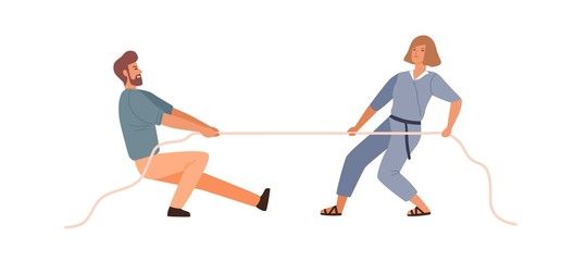 Man and woman competitors tug of war contest vector flat illustration. Colorful male and female rivals pulling opposite ends of rope isolated on white. Battle between wife and husband to leadership