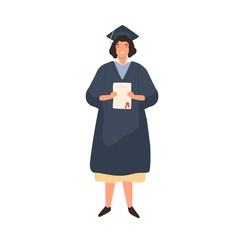 Happy female student holding diploma vector flat illustration. Smiling woman wearing robe and cap isolated on white background. Joyful graduated person demonstrating certificate
