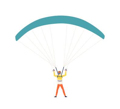 Funny colorful man enjoying parachuting sport vector flat illustration