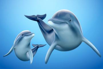 Charming dolphin family