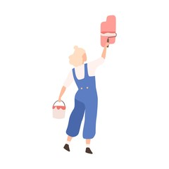 Woman with bucket of paint and roll depict colorful image on wall vector flat illustration. Female professional painter wearing overalls create decoration isolated on white background