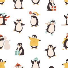 Funny polar penguin having fun seamless pattern. Cute arctic bird skating, sledding, dancing, hold gift and lollipop vector flat illustration. North animal in warm clothes on white background