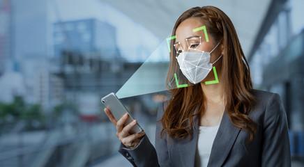 Obraz 顔認証 マスクをした女性 - fototapety do salonu
