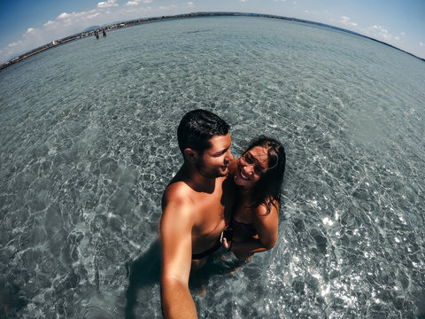 Selfie of a young couple on vacation