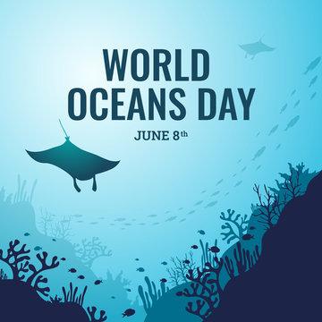 World ocean day illustration vector