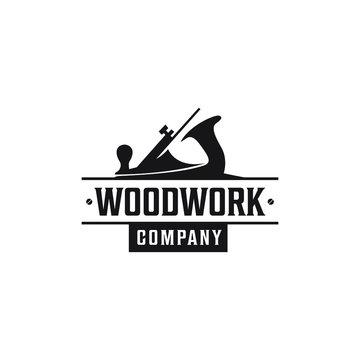 Vintage  Woodworking Carpenter Wood Fore Plane / Jack Plane Logo design