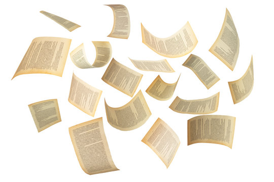 Many flying pages isolated on white background. Abstract and creative shot for editing photos.