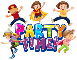 Photo sur cadre textile Jeunes enfants Font design for word party time with happy kids smiling