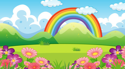 Photo sur cadre textile Jeunes enfants Nature scene background with rainbow and flowers in garden