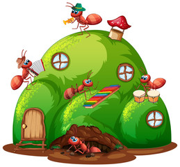 Keuken foto achterwand Kids Insect house full of ants playing music on white background