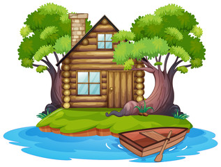 Wall Mural - Cabin on the island