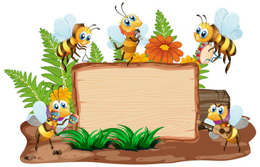 Keuken foto achterwand Kids Border template design with insects in the garden background