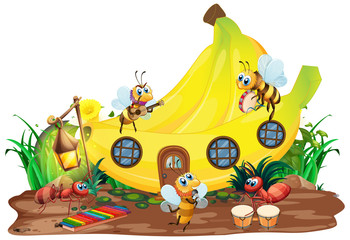 Keuken foto achterwand Kids Insect musical band playing in front of banana house
