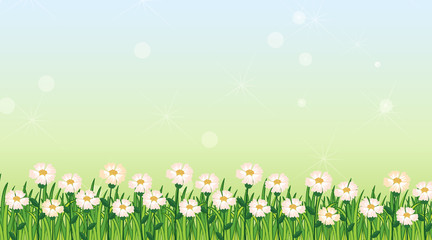 Keuken foto achterwand Kids Background design template with green grass and flowers