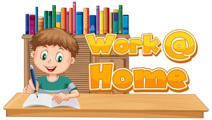 Keuken foto achterwand Kids A boy with work at home text sign