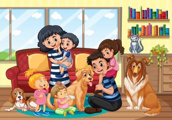 Keuken foto achterwand Kids Happy family at home