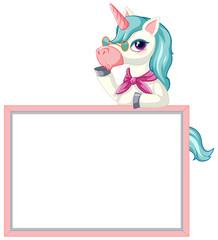 Keuken foto achterwand Kids Cute unicorn with blank banner sign on white background